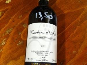 Barbera d'Asti cuvée 2011, vin du Piemont